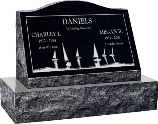 24inch x 10inch x 16inch Serp Top Slant Headstone polished front and back with 30inch Base in Imperial Black with design SD-414