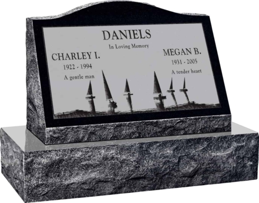 24inch x 10inch x 16inch Serp Top Slant Headstone polished front and back with 30inch Base in Imperial Black with design SD-414, Sanded Panel