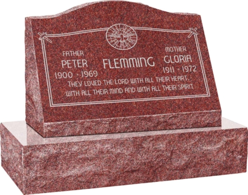 24inch x 10inch x 16inch Serp Top Slant Headstone polished front and back with 30inch Base in Imperial Red with design AS-020