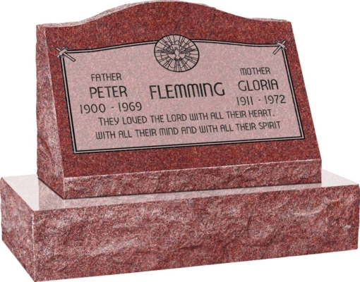24inch x 10inch x 16inch Serp Top Slant Headstone polished front and back with 30inch Base in Imperial Red with design AS-020, Sanded Panel