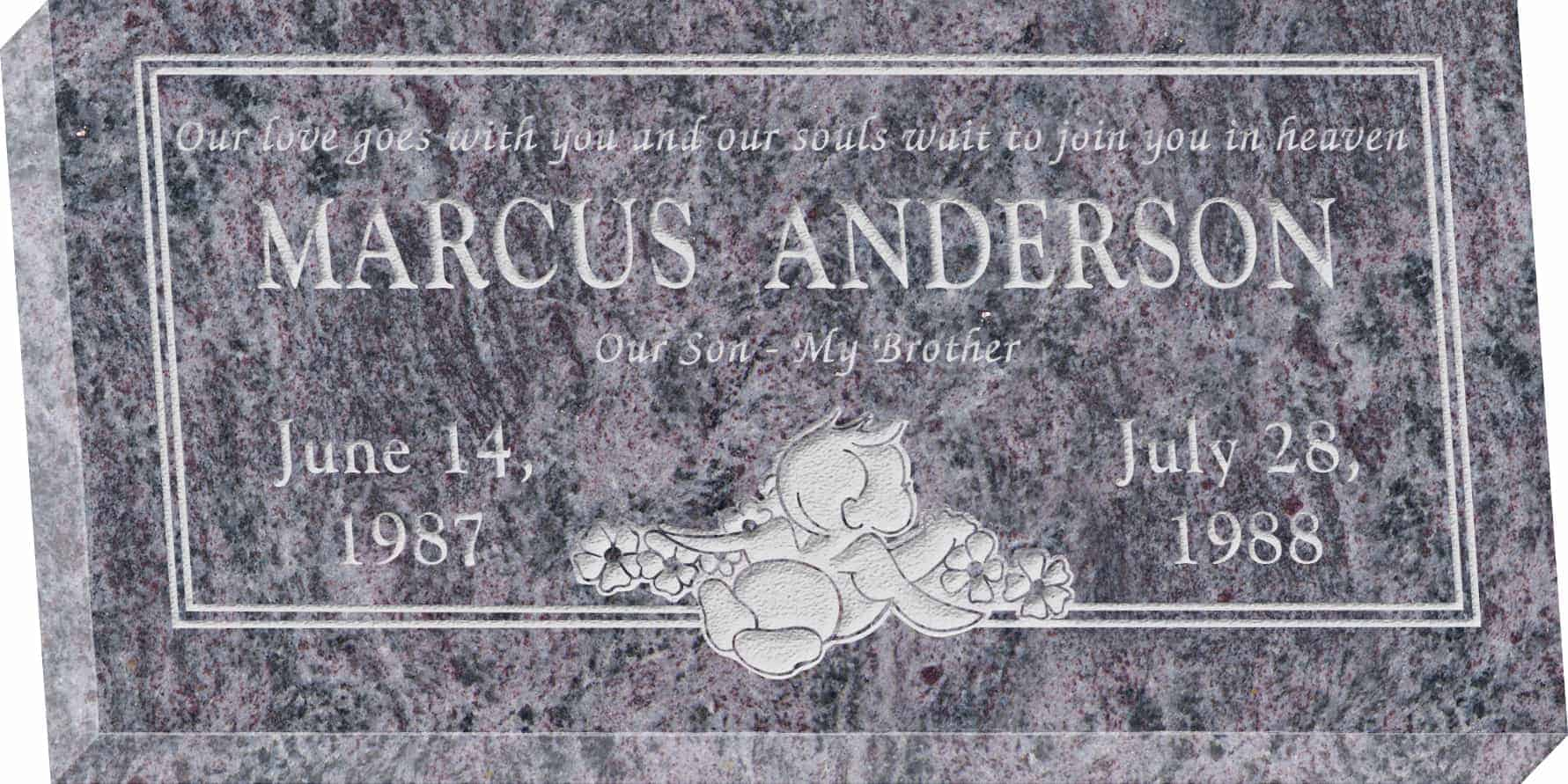 24inch_x_12inch_x_3inch_Flat_Granite_Headstone_in_Bahama_Blue_with_design_R-40