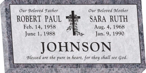 24inch x 12inch x 3inch Flat Granite Headstone in Bahama Blue with design V-3, Sanded Panel