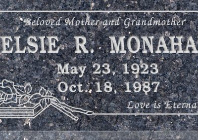24inch_x_12inch_x_3inch_Flat_Granite_Headstone_in_Blue_Pearl_with_design_B-16