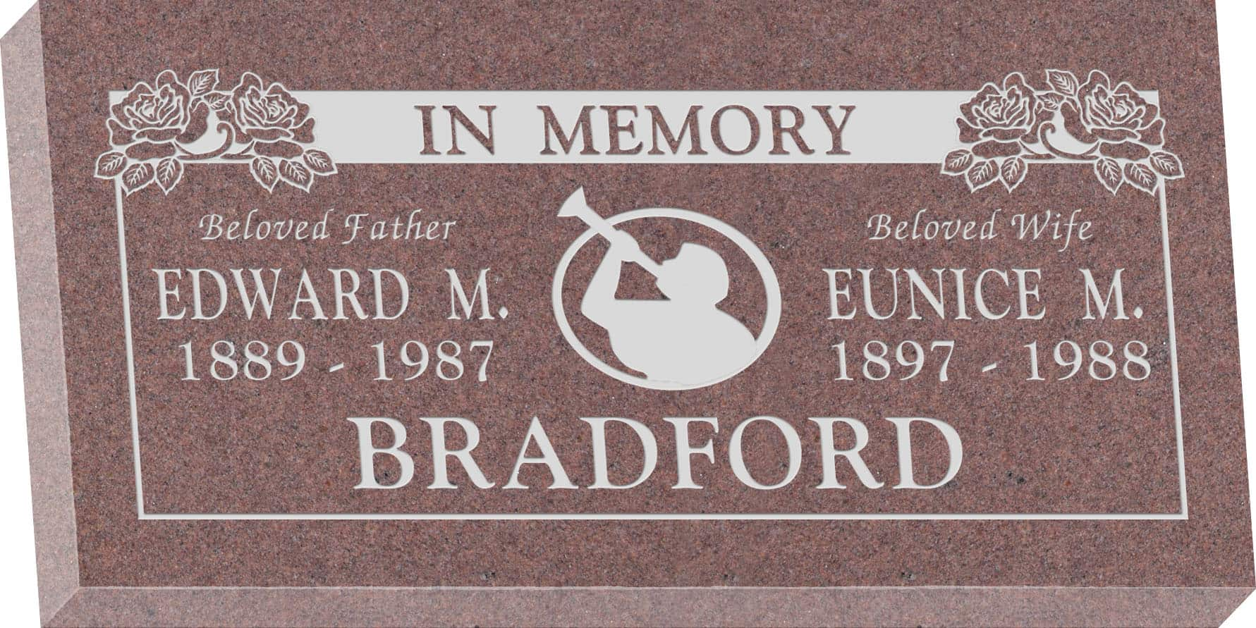 24inch_x_12inch_x_3inch_Flat_Granite_Headstone_in_Desert_Pink_with_design_M-04