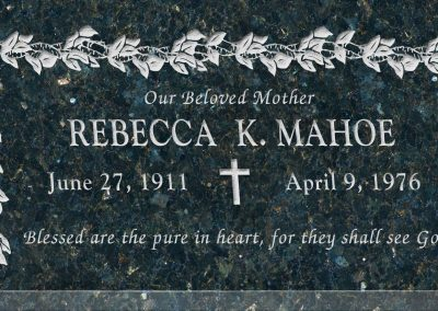 24inch_x_12inch_x_3inch_Flat_Granite_Headstone_in_Emerald_Pearl_with_design_K-3