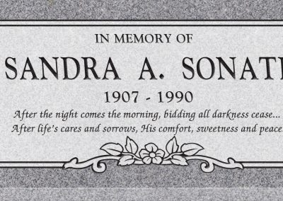 24inch_x_12inch_x_3inch_Flat_Granite_Headstone_in_Grey_with_design_C-150,_Sanded_Panel