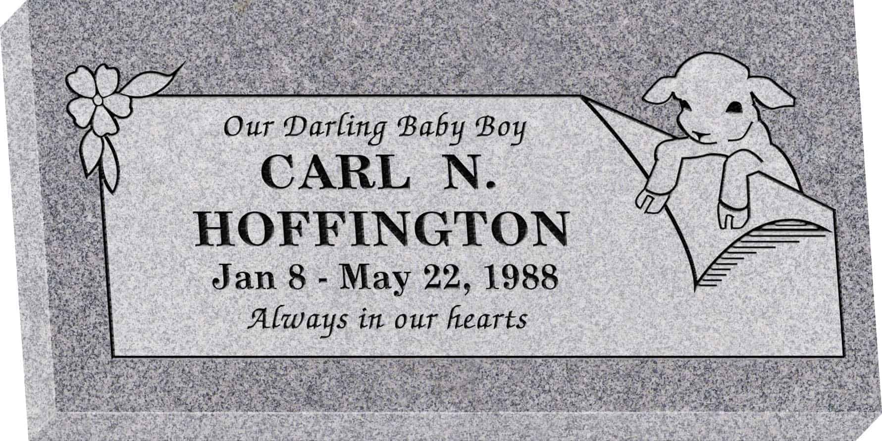 24inch_x_12inch_x_3inch_Flat_Granite_Headstone_in_Grey_with_design_R-29_Sanded_Panel