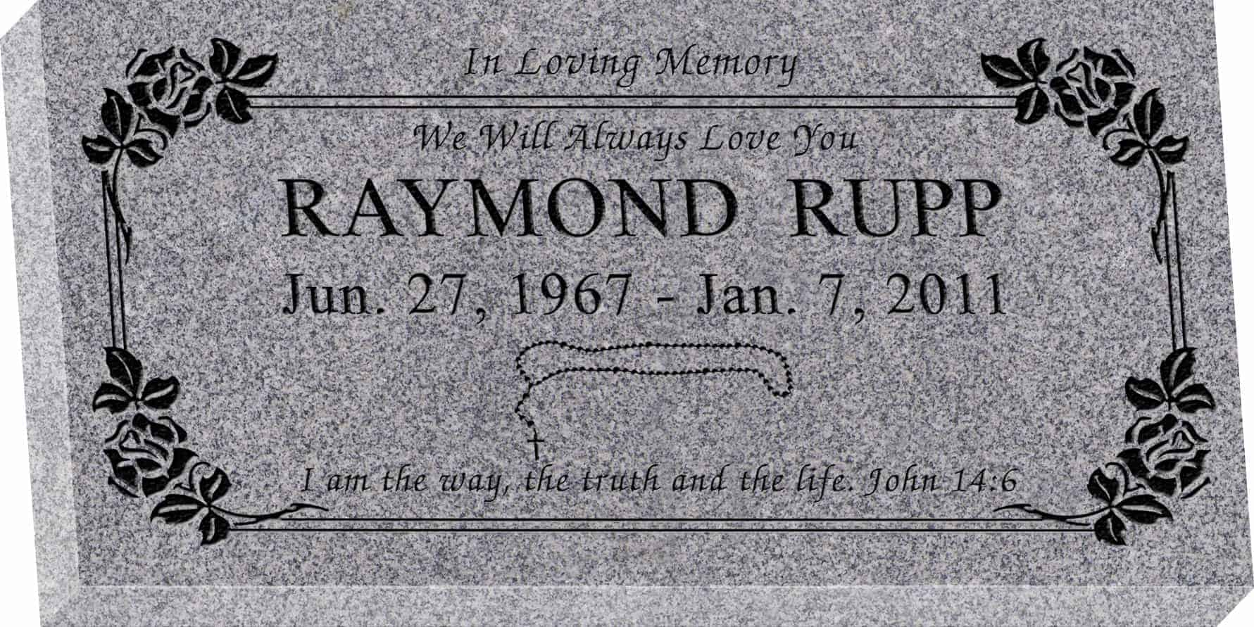 24inch_x_12inch_x_3inch_Flat_Granite_Headstone_in_Grey_with_design_SD-208