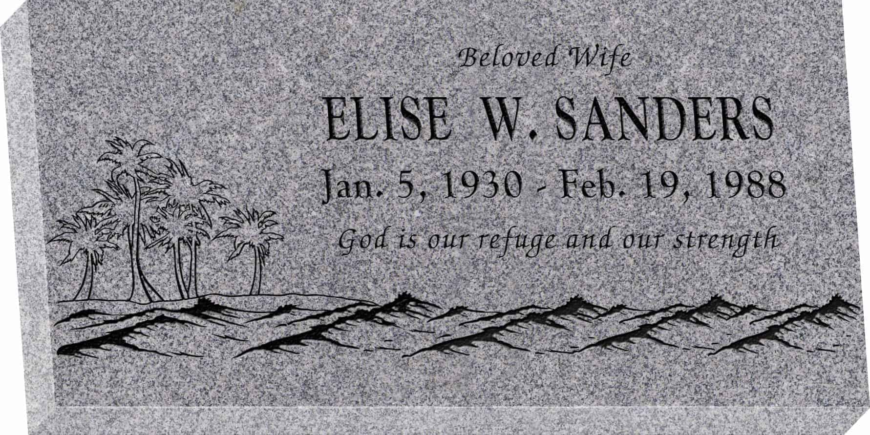 24inch_x_12inch_x_3inch_Flat_Granite_Headstone_in_Grey_with_design_T-1