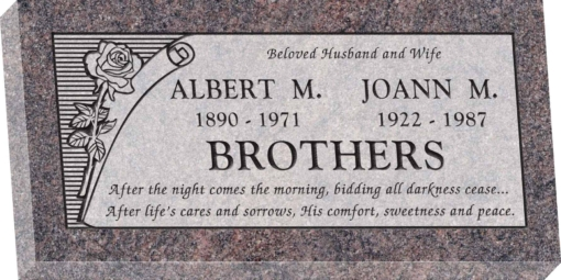 24inch x 12inch x 3inch Flat Granite Headstone in Himalayan with design B-10, Sanded Panel