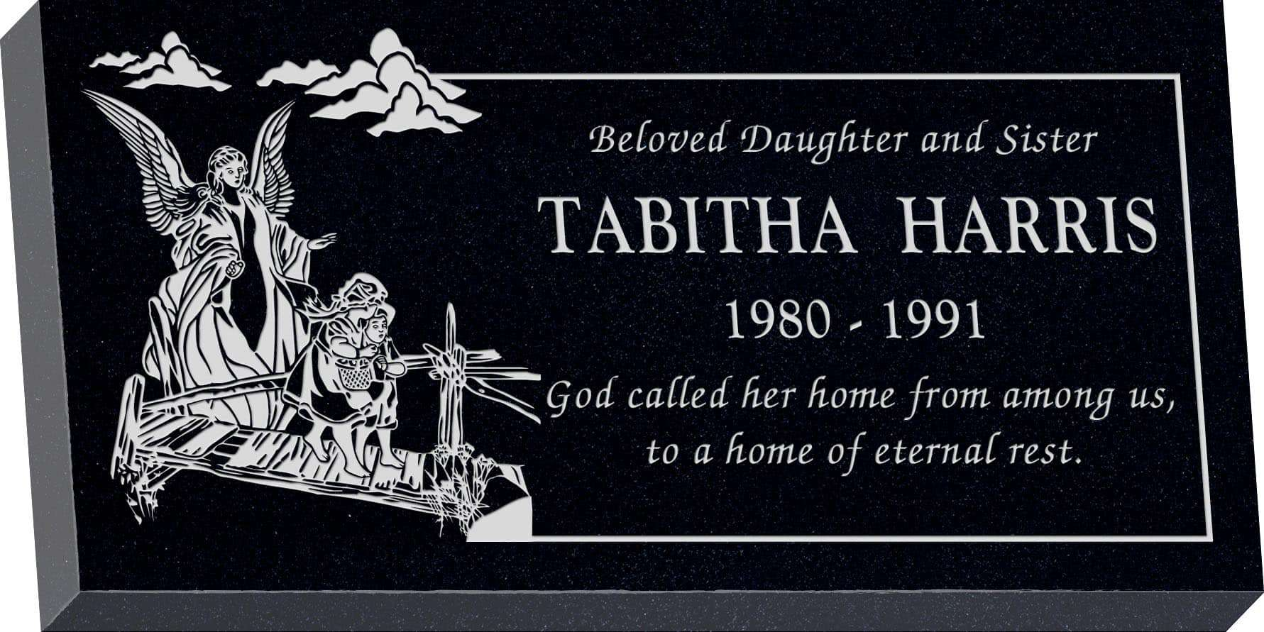 24inch_x_12inch_x_3inch_Flat_Granite_Headstone_in_Imperial_Black_with_design_C-436