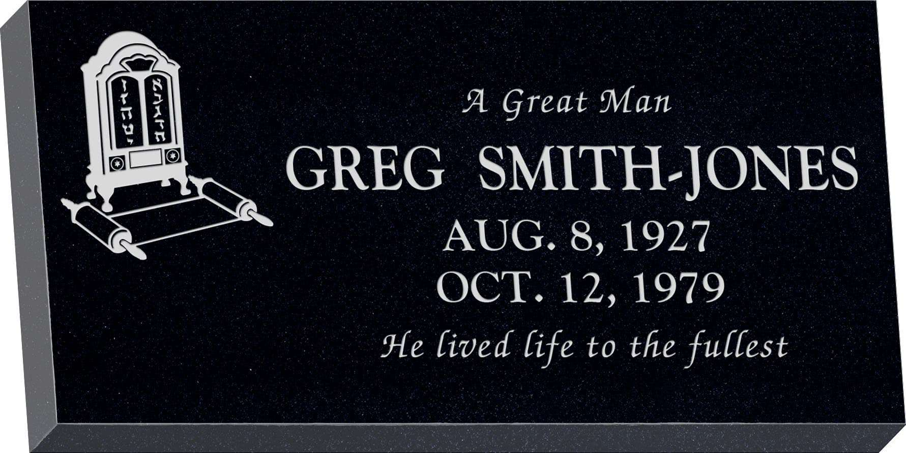 24inch_x_12inch_x_3inch_Flat_Granite_Headstone_in_Imperial_Black_with_design_J-02