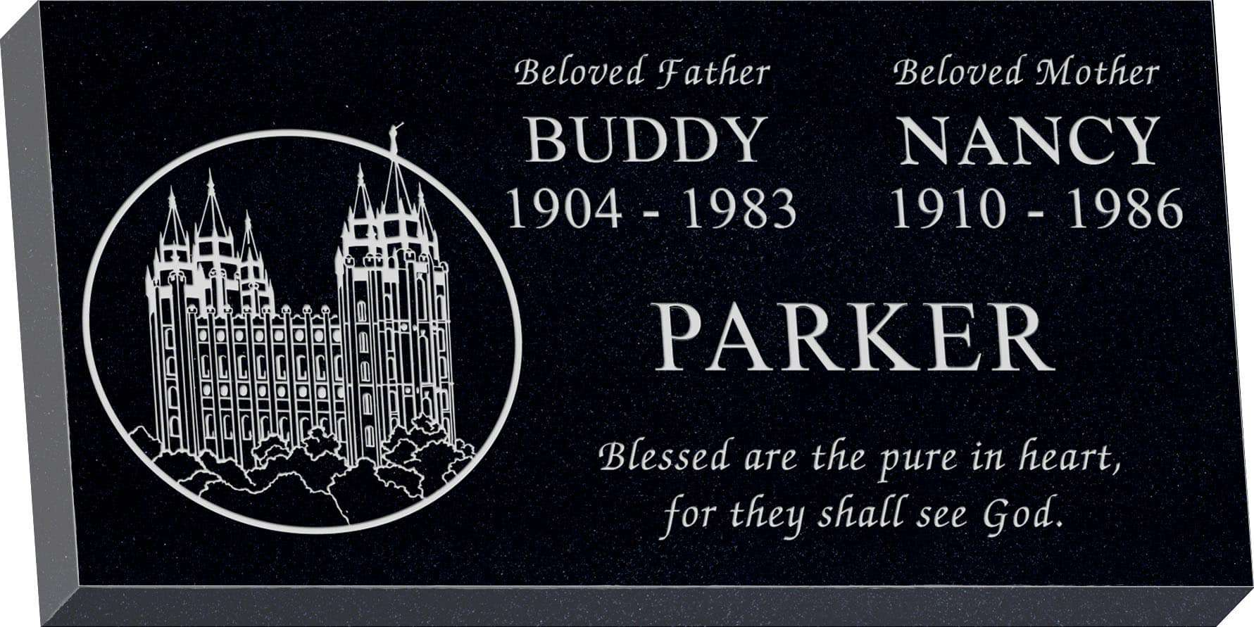 24inch_x_12inch_x_3inch_Flat_Granite_Headstone_in_Imperial_Black_with_design_M-03