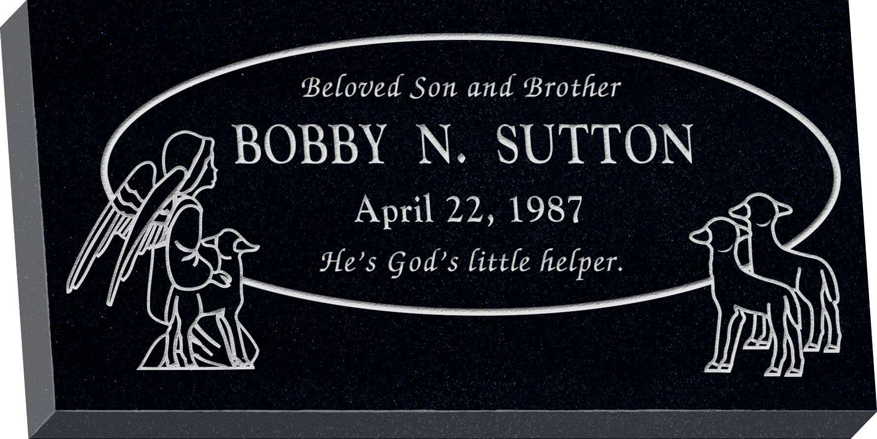 24inch_x_12inch_x_3inch_Flat_Granite_Headstone_in_Imperial_Black_with_design_R-1