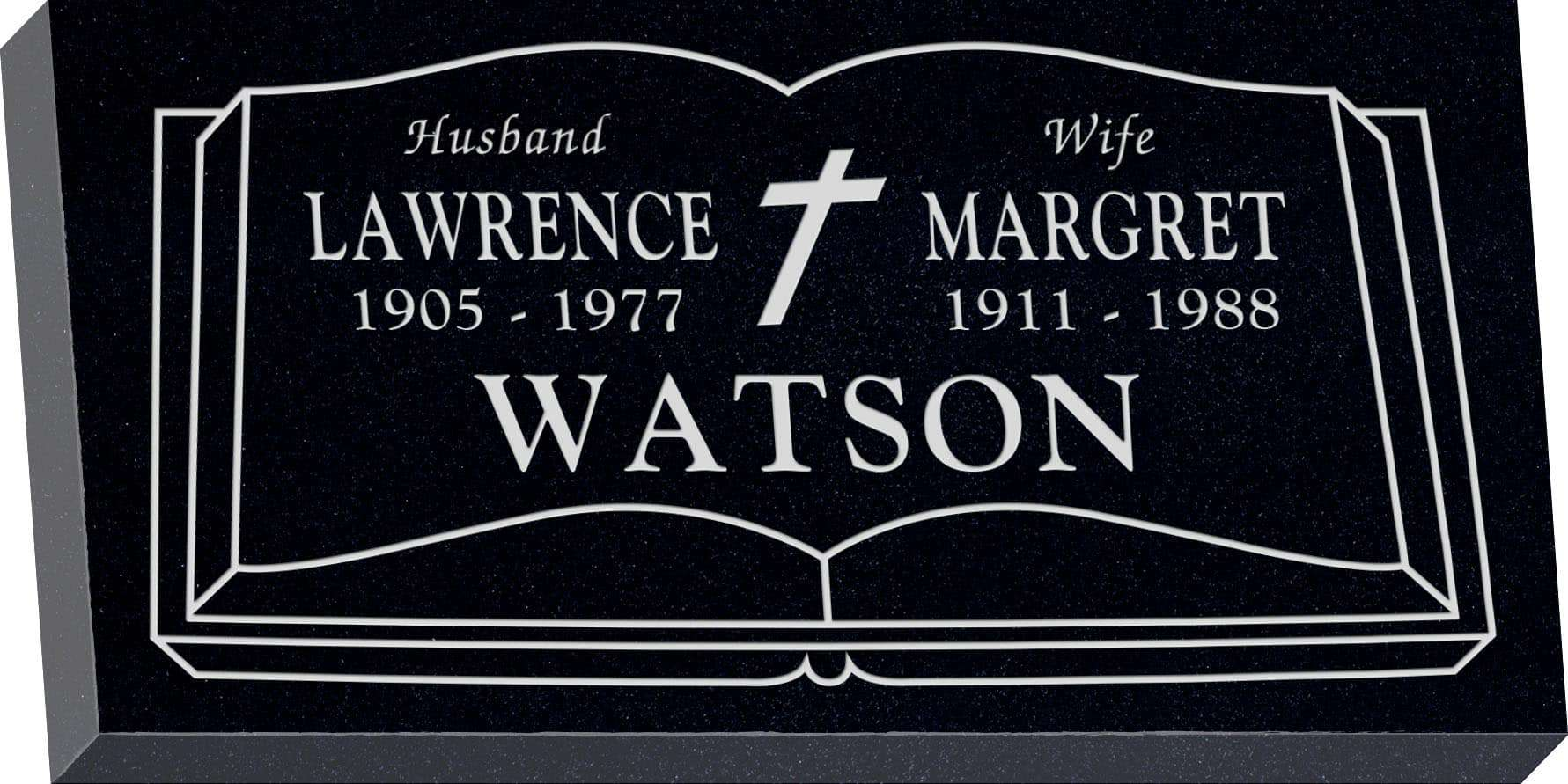 24inch_x_12inch_x_3inch_Flat_Granite_Headstone_in_Imperial_Black_with_design_R-23