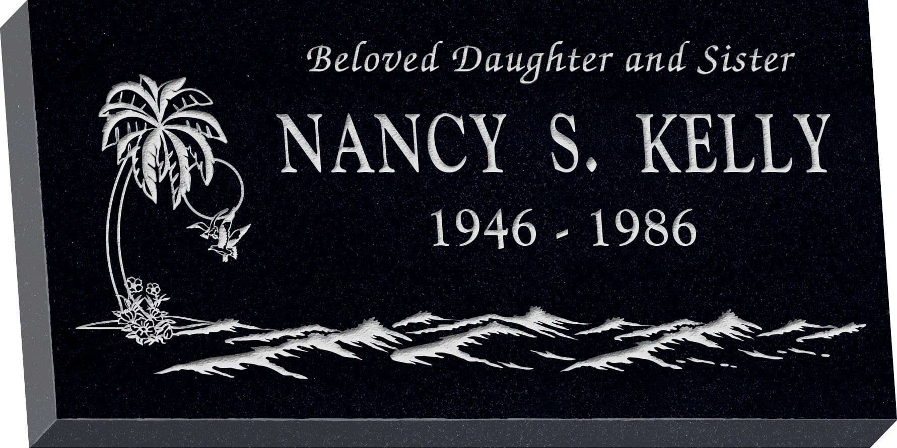 24inch_x_12inch_x_3inch_Flat_Granite_Headstone_in_Imperial_Black_with_design_T-2