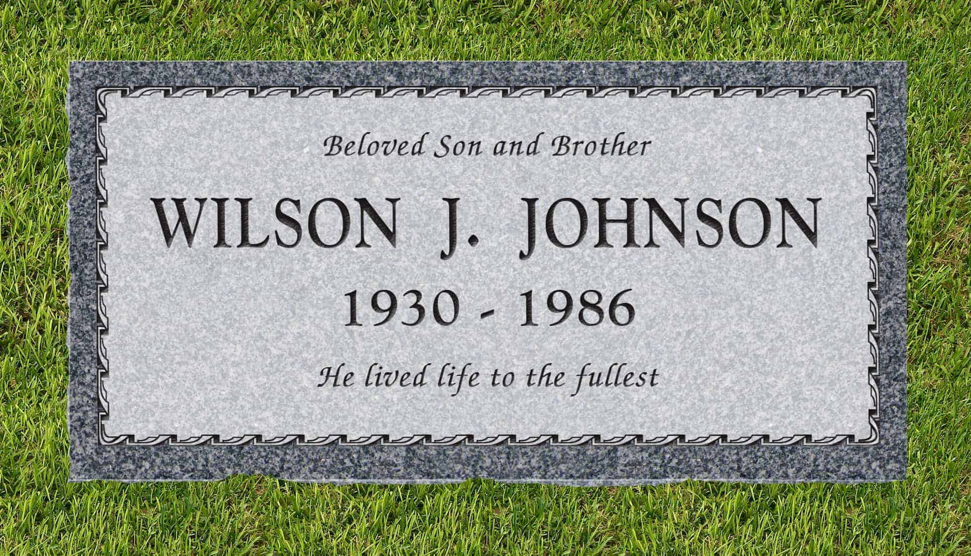 24inch_x_12inch_x_3inch_Flat_Granite_Headstone_in_Imperial_Gray_with_design_B-3_installed_in_ground
