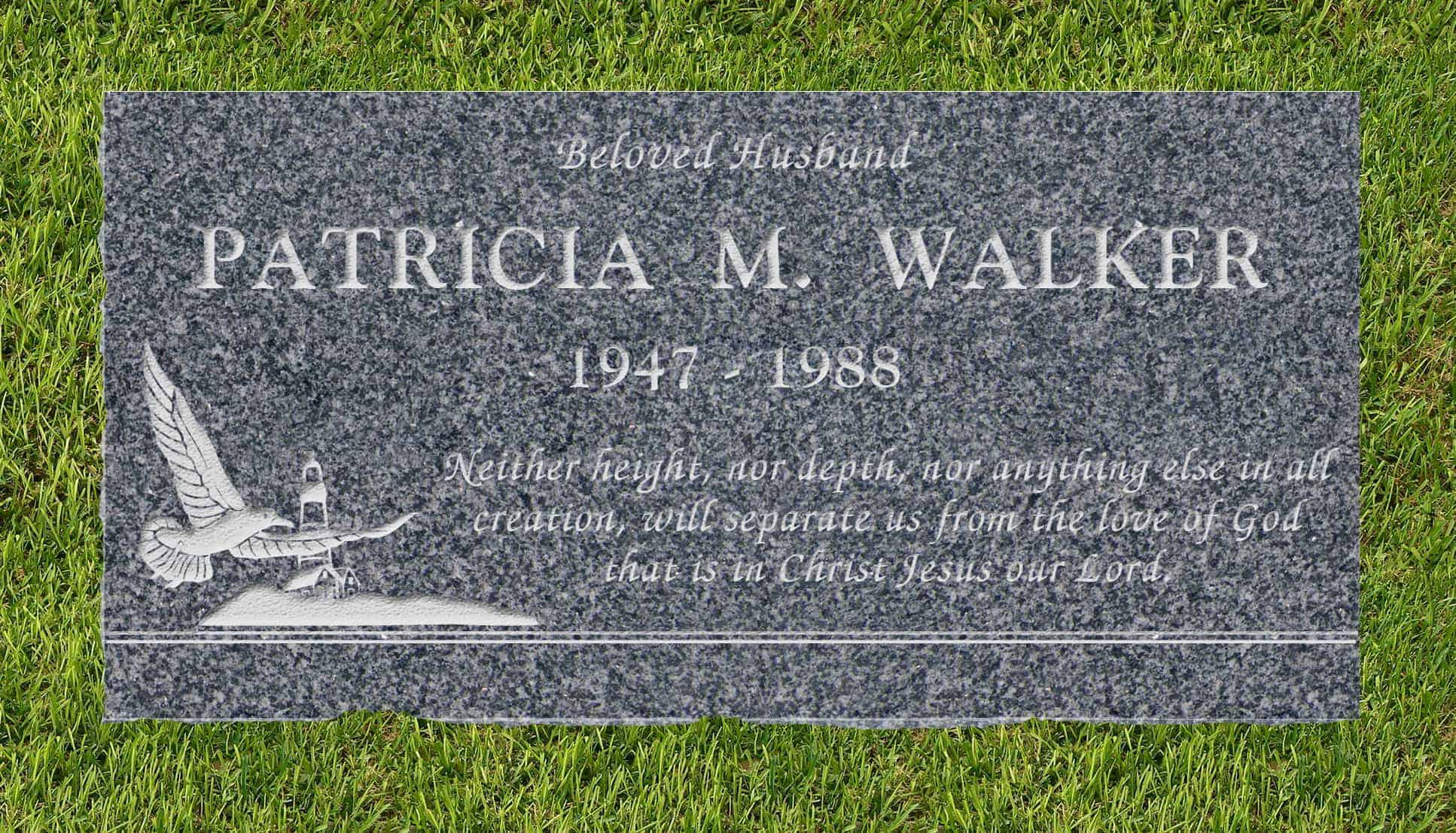 24inch_x_12inch_x_3inch_Flat_Granite_Headstone_in_Imperial_Gray_with_design_S-1_installed_in_ground