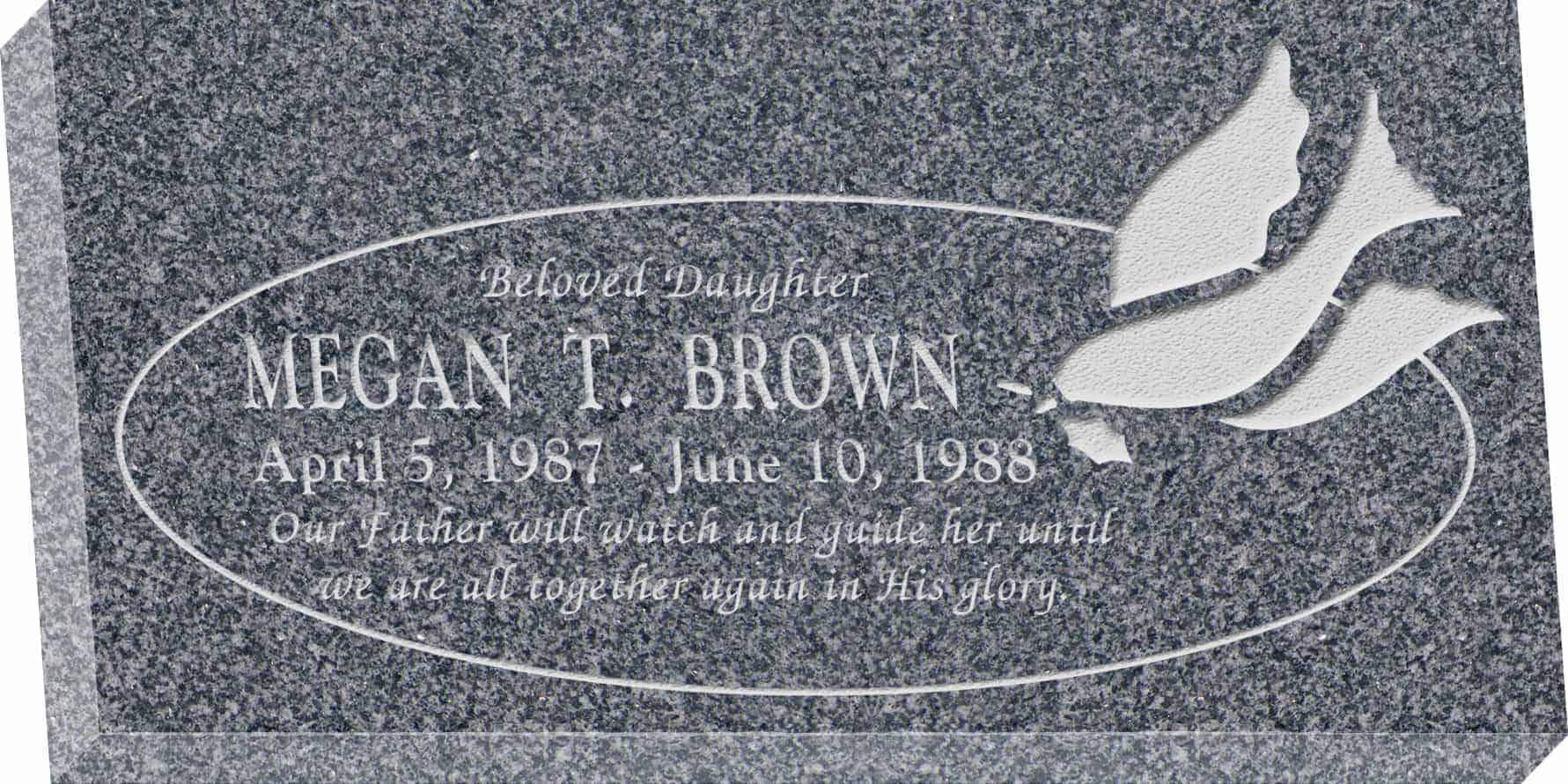 24inch_x_12inch_x_3inch_Flat_Granite_Headstone_in_Imperial_Grey_with_design_ R-2