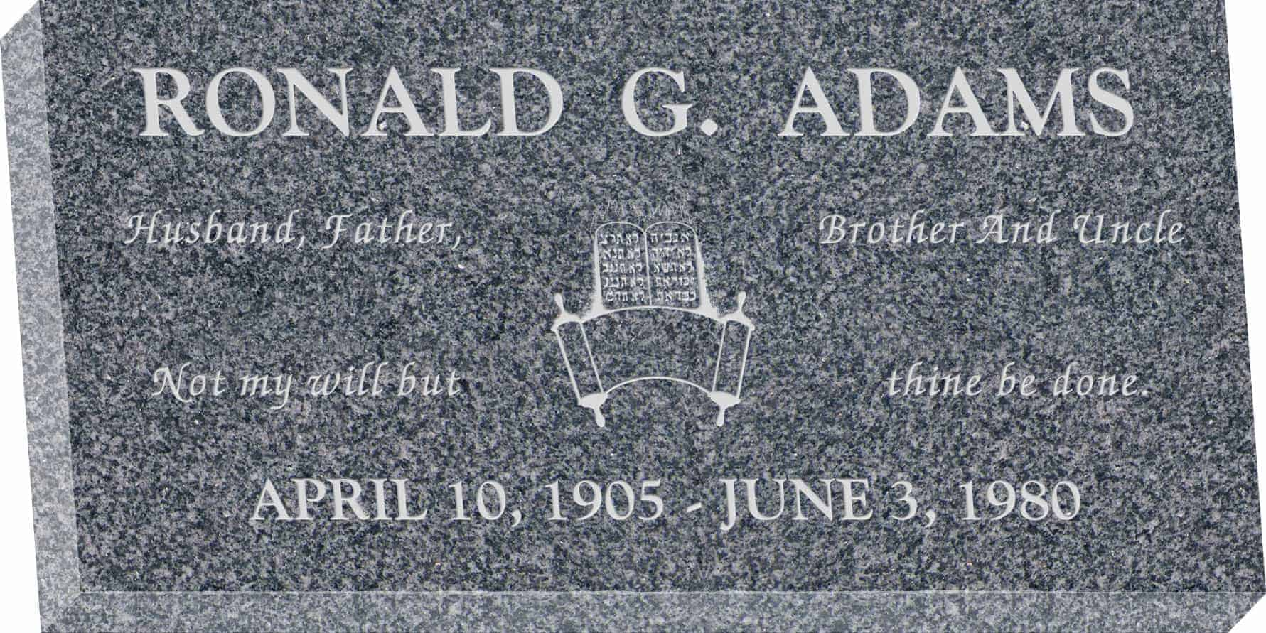 24inch_x_12inch_x_3inch_Flat_Granite_Headstone_in_Imperial_Grey_with_design_J-03