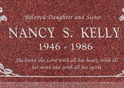 24inch_x_12inch_x_3inch_Flat_Granite_Headstone_in_Imperial_Red_with_design_B-1