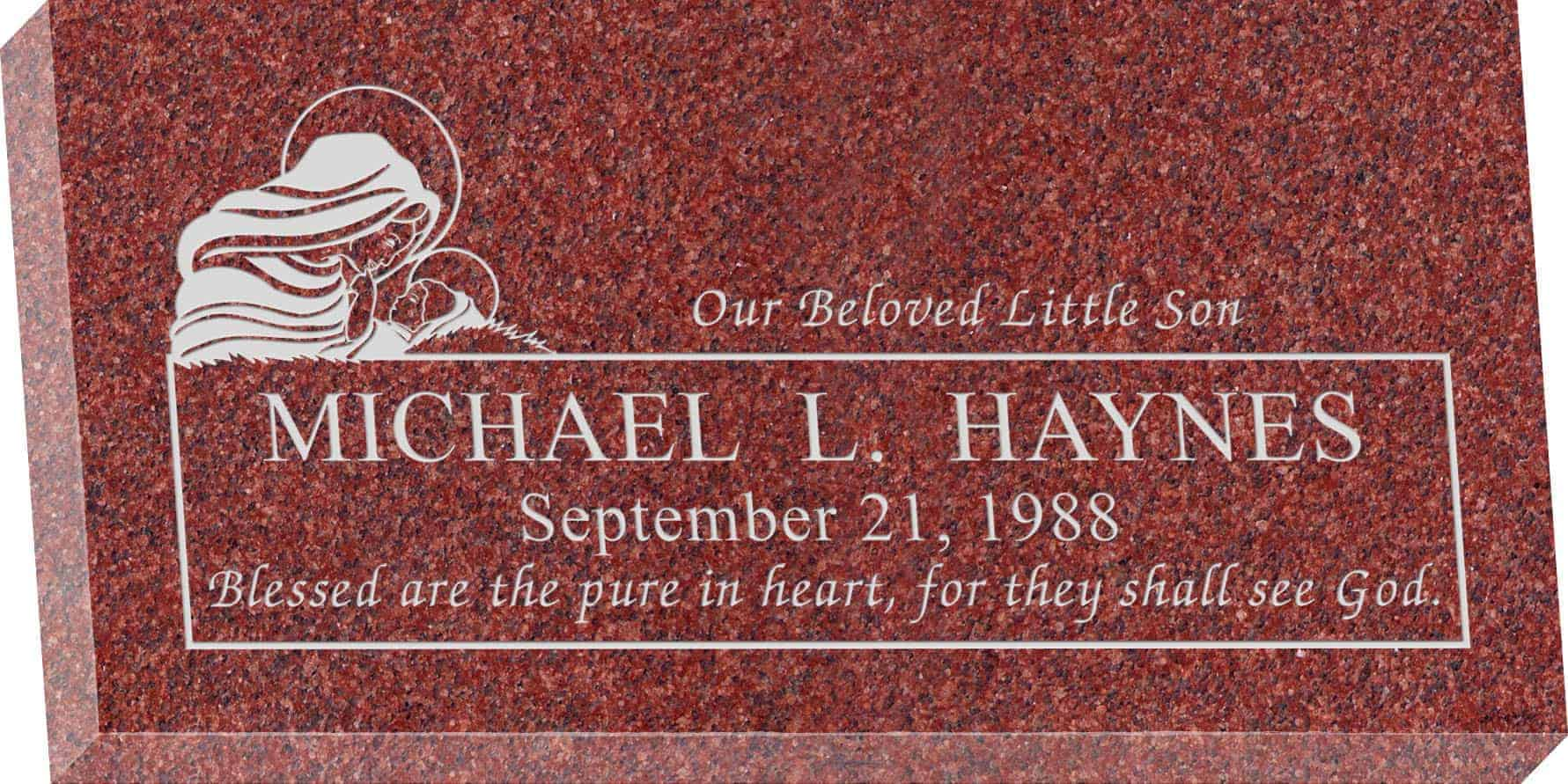24inch_x_12inch_x_3inch_Flat_Granite_Headstone_in_Imperial_Red_with_design_B-18