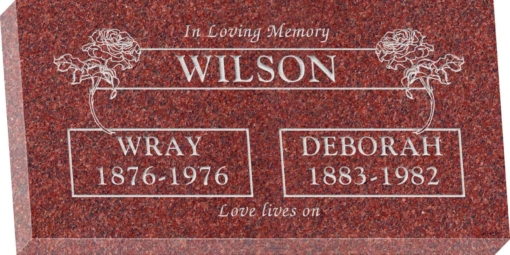 24inch x 12inch x 3inch Flat Granite Headstone in Imperial Red with design B-18