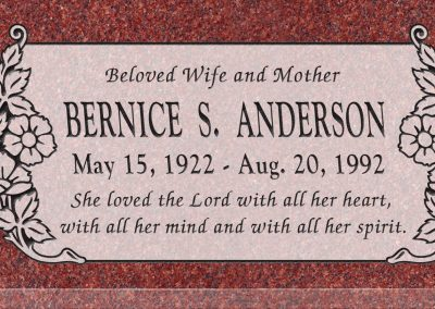 24inch_x_12inch_x_3inch_Flat_Granite_Headstone_in_Imperial_Red_with_design_C-101,_Sanded_Panel