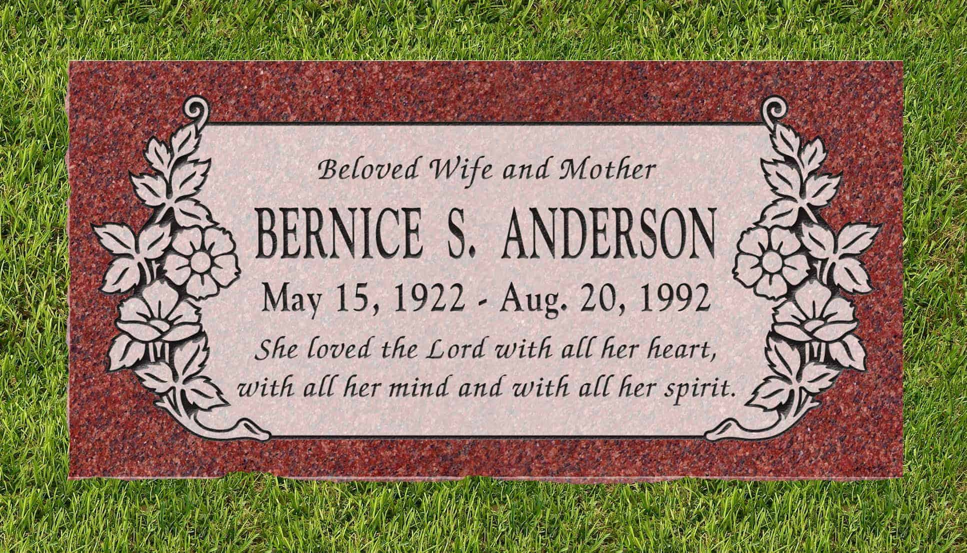 24inch_x_12inch_x_3inch_Flat_Granite_Headstone_in_Imperial_Red_with_design_C-101_installed_in_ground