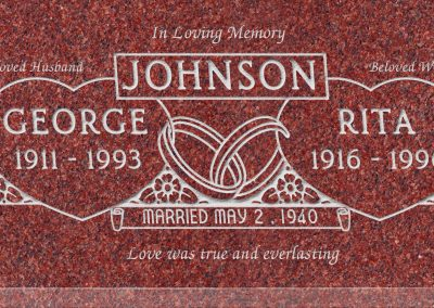 24inch_x_12inch_x_3inch_Flat_Granite_Headstone_in_Imperial_Red_with_design_F-224