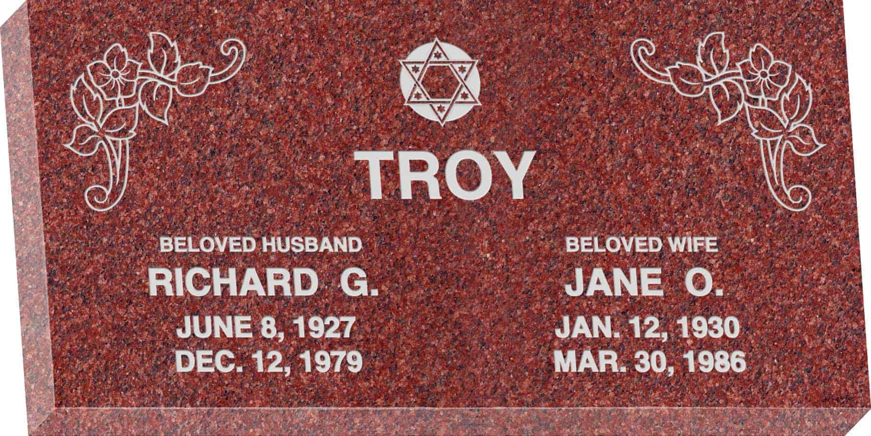 24inch_x_12inch_x_3inch_Flat_Granite_Headstone_in_Imperial_Red_with_design_J-01