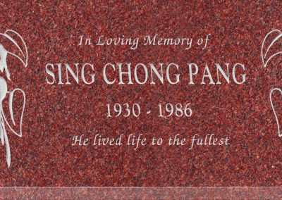 24inch_x_12inch_x_3inch_Flat_Granite_Headstone_in_Imperial_Red_with_design_T-9