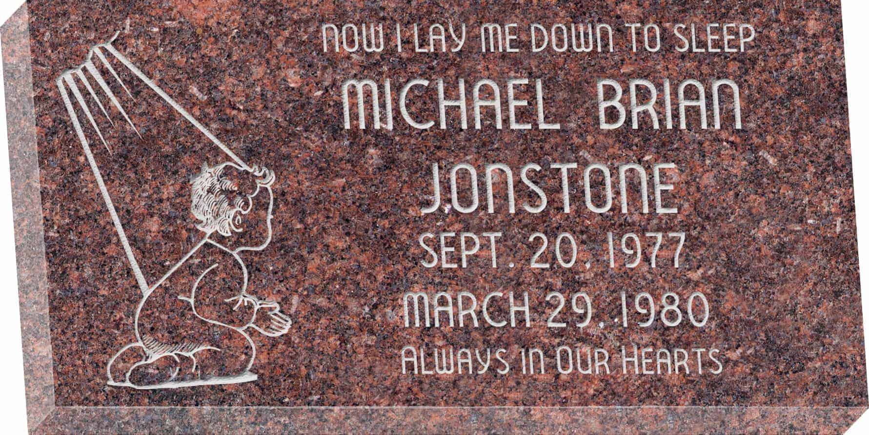 24inch_x_12inch_x_3inch_Flat_Granite_Headstone_in_Mahogany_with_design_B-109