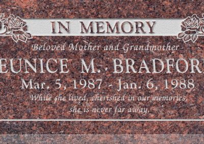 24inch_x_12inch_x_3inch_Flat_Granite_Headstone_in_Mahogany_with_design_B-14