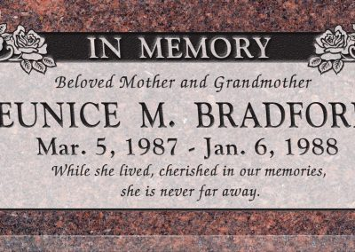24inch_x_12inch_x_3inch_Flat_Granite_Headstone_in_Mahogany_with_design_B-14,_Sanded_Panel