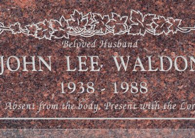 24inch_x_12inch_x_3inch_Flat_Granite_Headstone_in_Mahogany_with_design_B-2