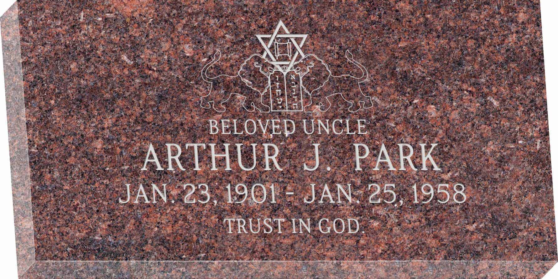 24inch_x_12inch_x_3inch_Flat_Granite_Headstone_in_Mahogany_with_design_J-5
