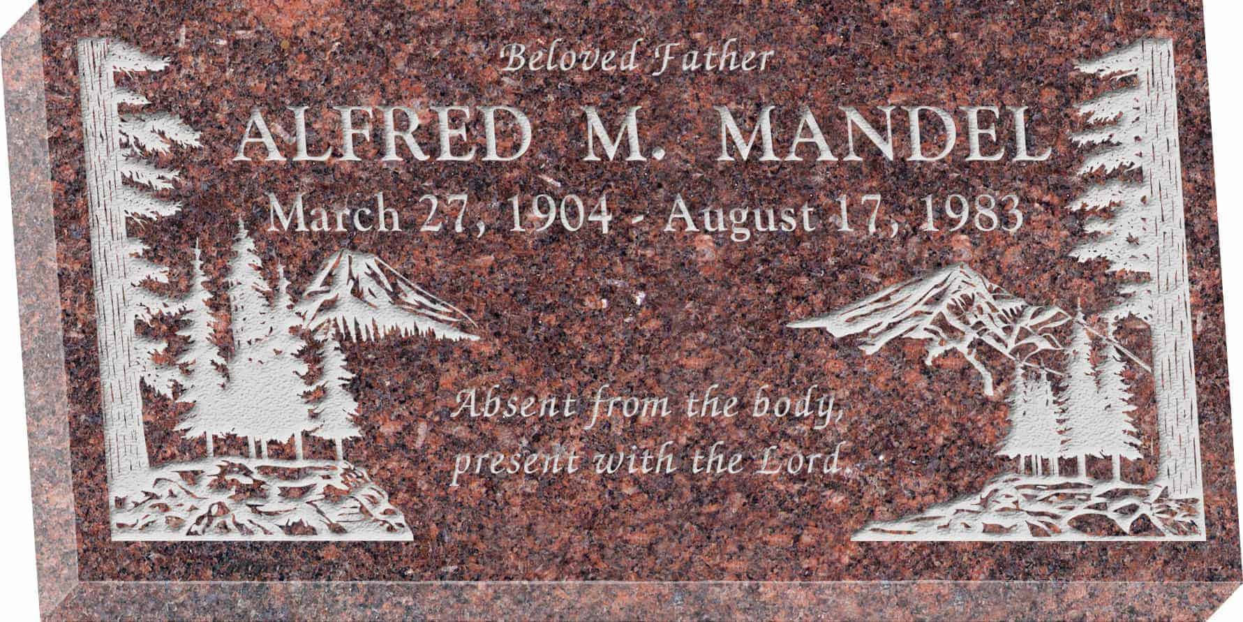 24inch_x_12inch_x_3inch_Flat_Granite_Headstone_in_Mahogany_with_design_S-4