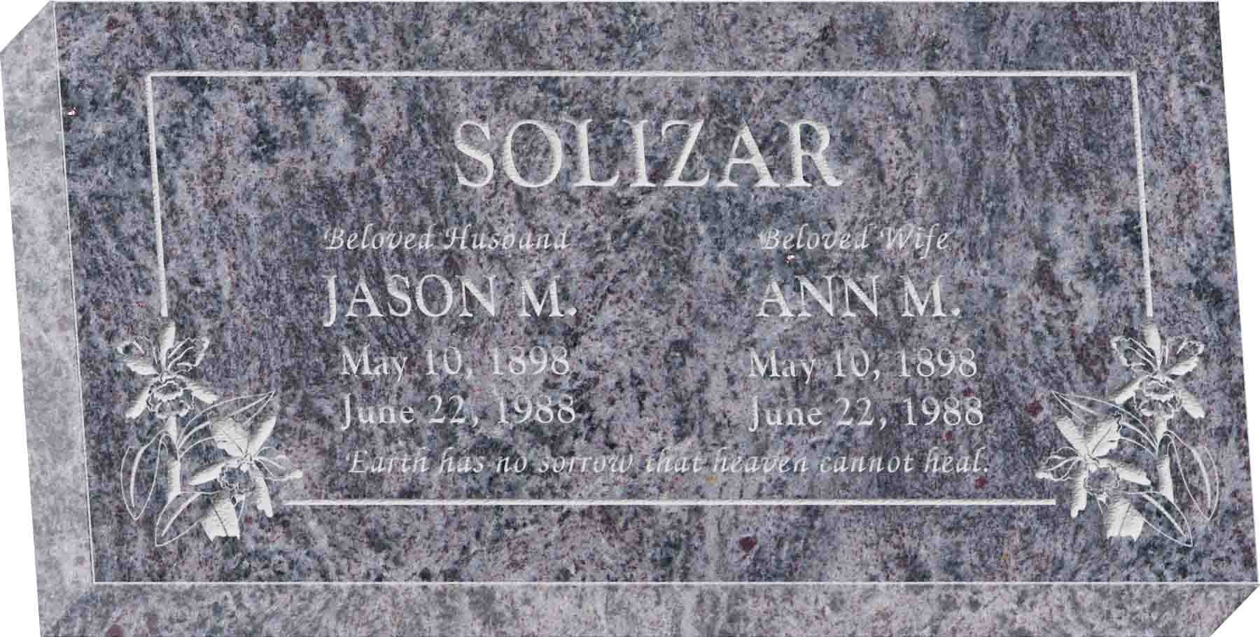 24inch_x_12inch_x_4inch_Flat_Granite_Headstone_in_Bahama_Blue_with_design_T-12