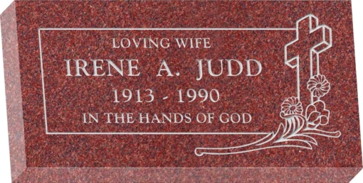 24inch_x_12inch_x_4inch_Flat_Granite_Headstone_in_Imperial_Red_with_design_C-46