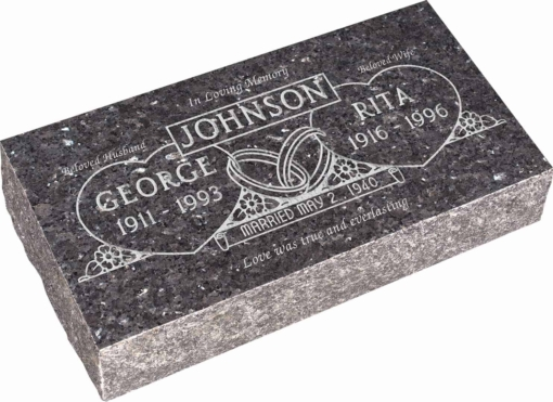 24inch x 12inch x 6inch Pillow Top Headstone in Blue Pearl with design F-224