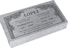 24inch x 12inch x 6inch Pillow Top Headstone in Grey with design HL-102