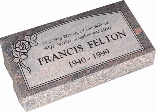 24inch x 12inch x 6inch Pillow Top Headstone in Himalayan with design C-102, Sanded Panel