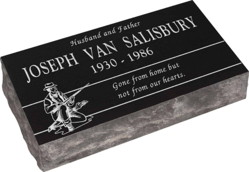 24inch x 12inch x 6inch Pillow Top Headstone in Imperial Black with design H-2
