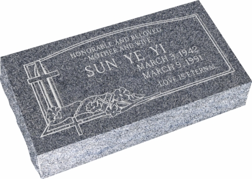24inch x 12inch x 6inch Pillow Top Headstone in Imperial Grey with design C-03