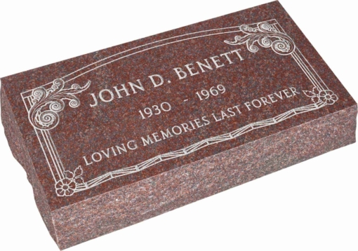 24inch x 12inch x 6inch Pillow Top Headstone in Imperial Red with design AS-001