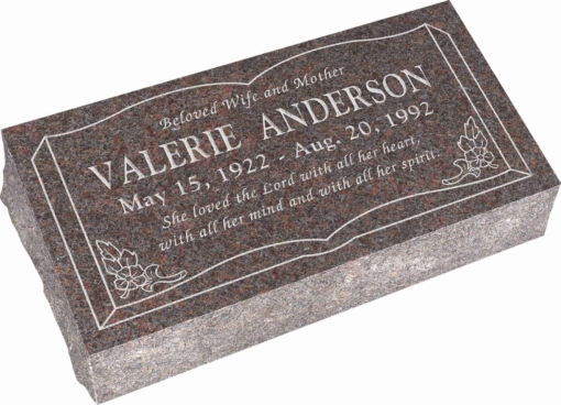 24inch x 12inch x 6inch Pillow Top Headstone in Mahogany with design SD-106