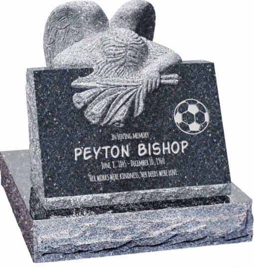 24 inch x 18 inch x 24 inch Carved Angel Slant Headstone polished front and back with 28 inch Base in Blue Pearl