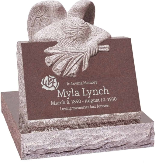 24 inch x 18 inch x 24 inch Carved Angel Slant Headstone polished front and back with 28 inch Base in Desert Pink