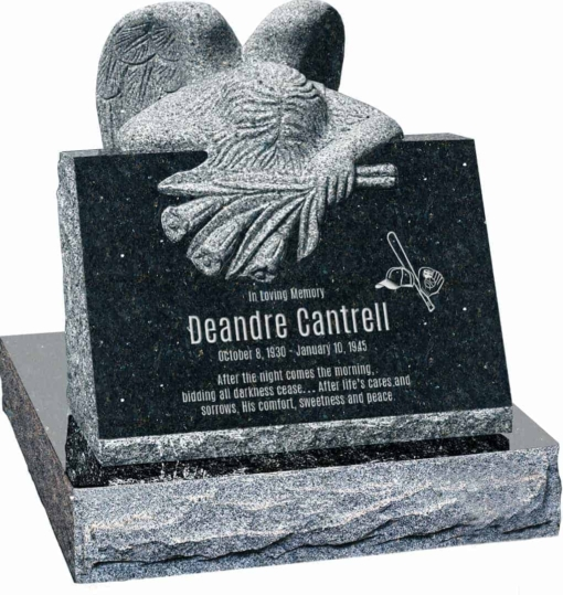 24 inch x 18 inch x 24 inch Carved Angel Slant Headstone polished front and back with 28 inch Base in Emerald Pearl
